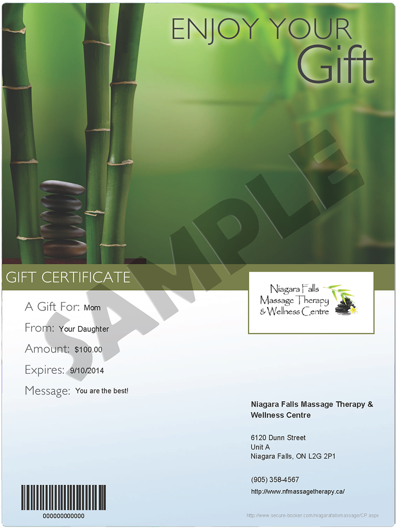 massage gift certificate template - niagara falls massage therapy wellness centre gift